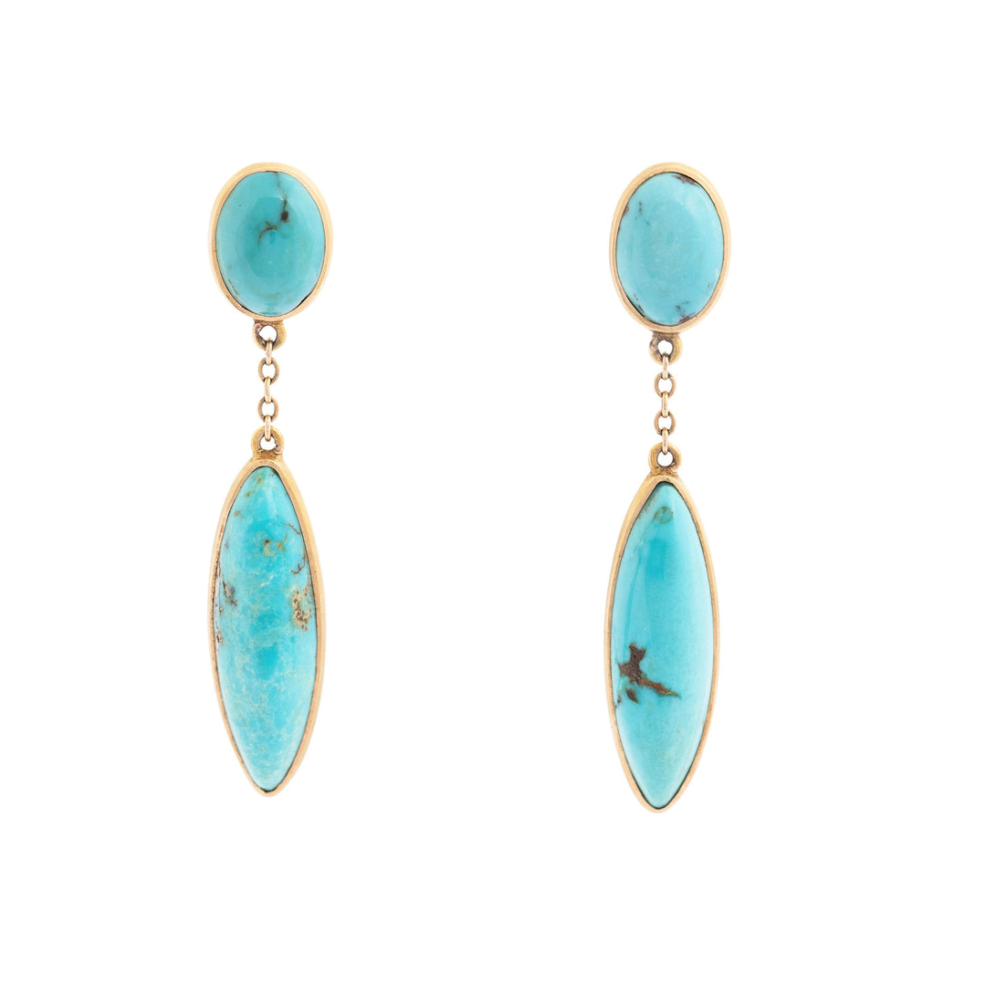 Double Drop Turquoise and 14K Gold Dangle Earrings