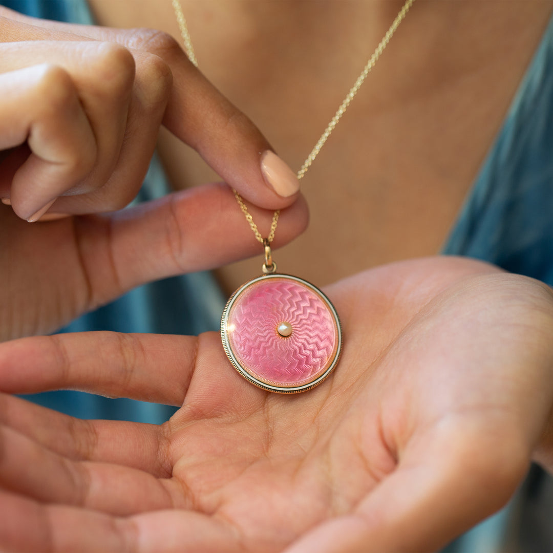 Victorian Pink Guilloche, Pearl, And 14K Gold Locket