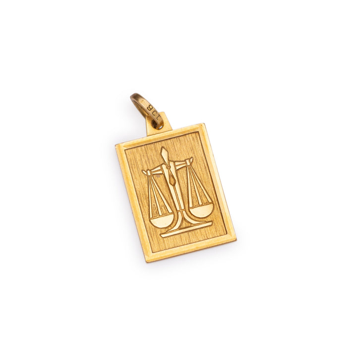 English Libra 9K Gold Rectangular Charm