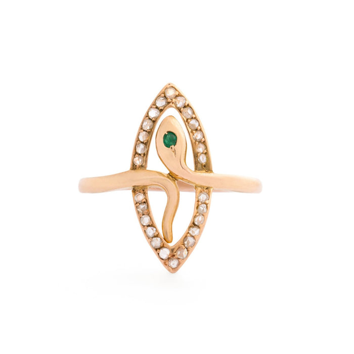 Navette Diamond, Emerald, and 14k Gold Snake Ring