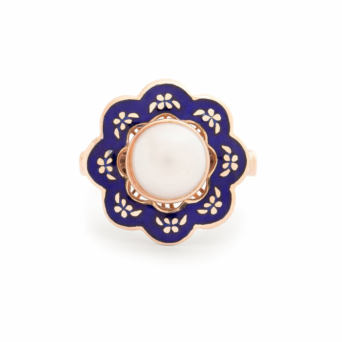 Blue Enamel and Pearl 14k Gold Ring