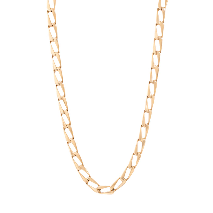 Italian Flat Curb Chain 14k Gold Long Necklace