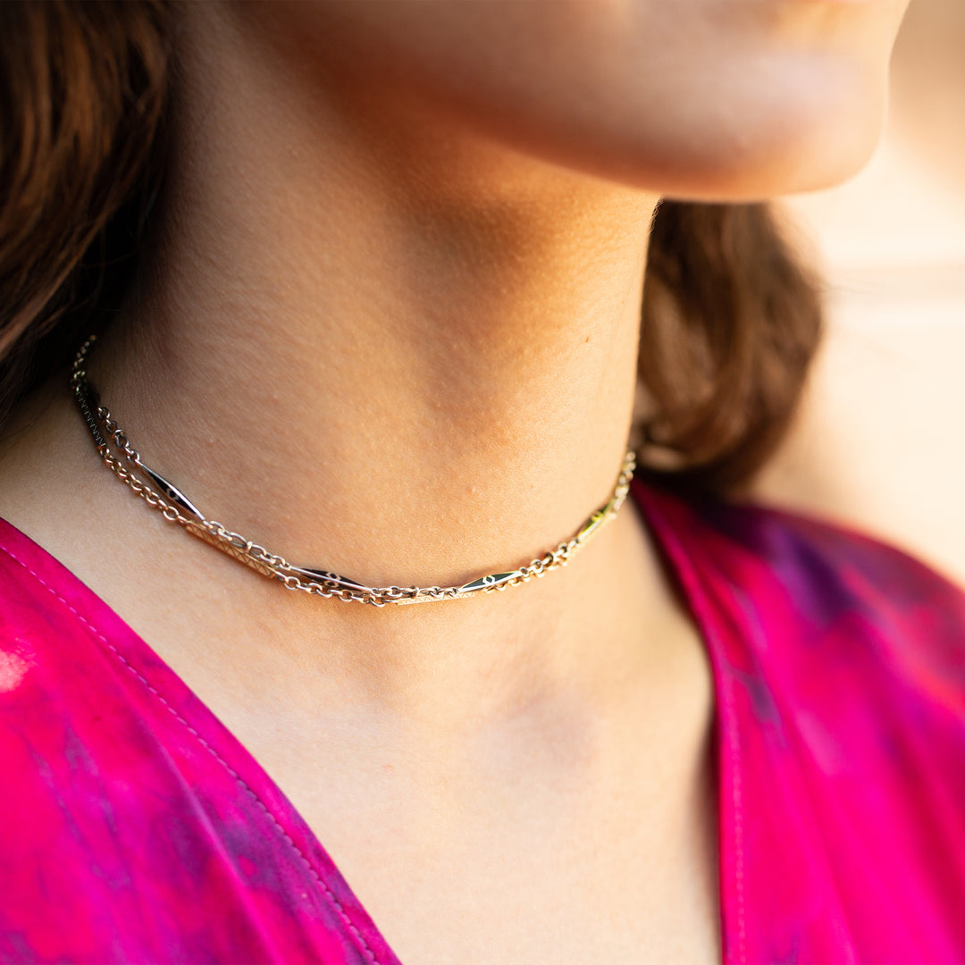 "Black Enamel and 14k Gold Choker 13.5"" Chain Necklace"