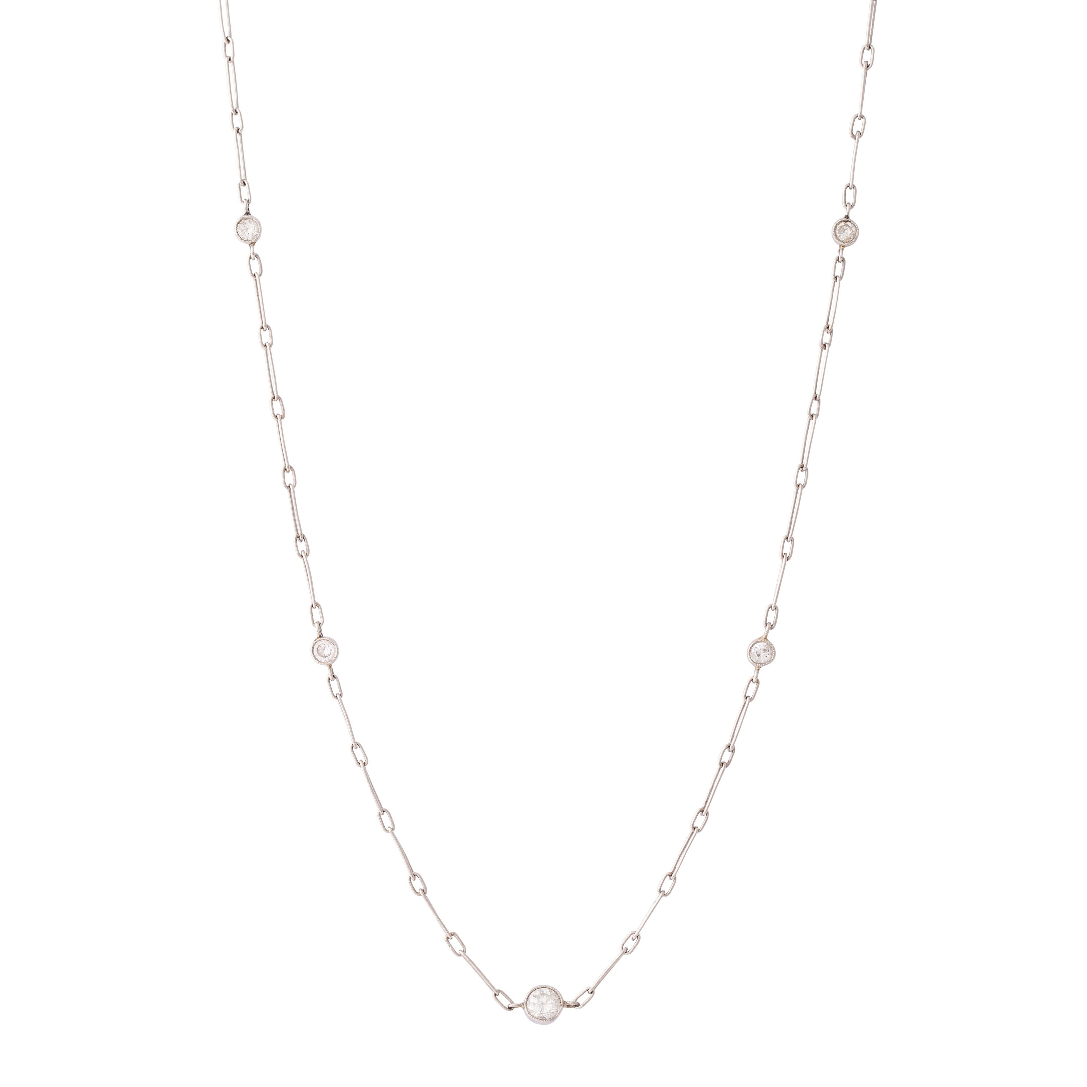"Platinum And Old European Cut Diamond 17"" Chain Necklace"