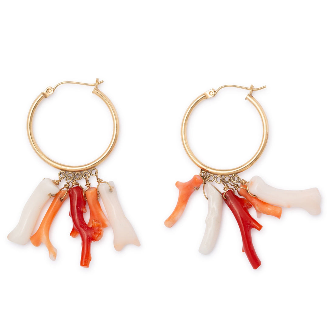 Fringe Plastic Coral and 14K Gold Hoop Earrings