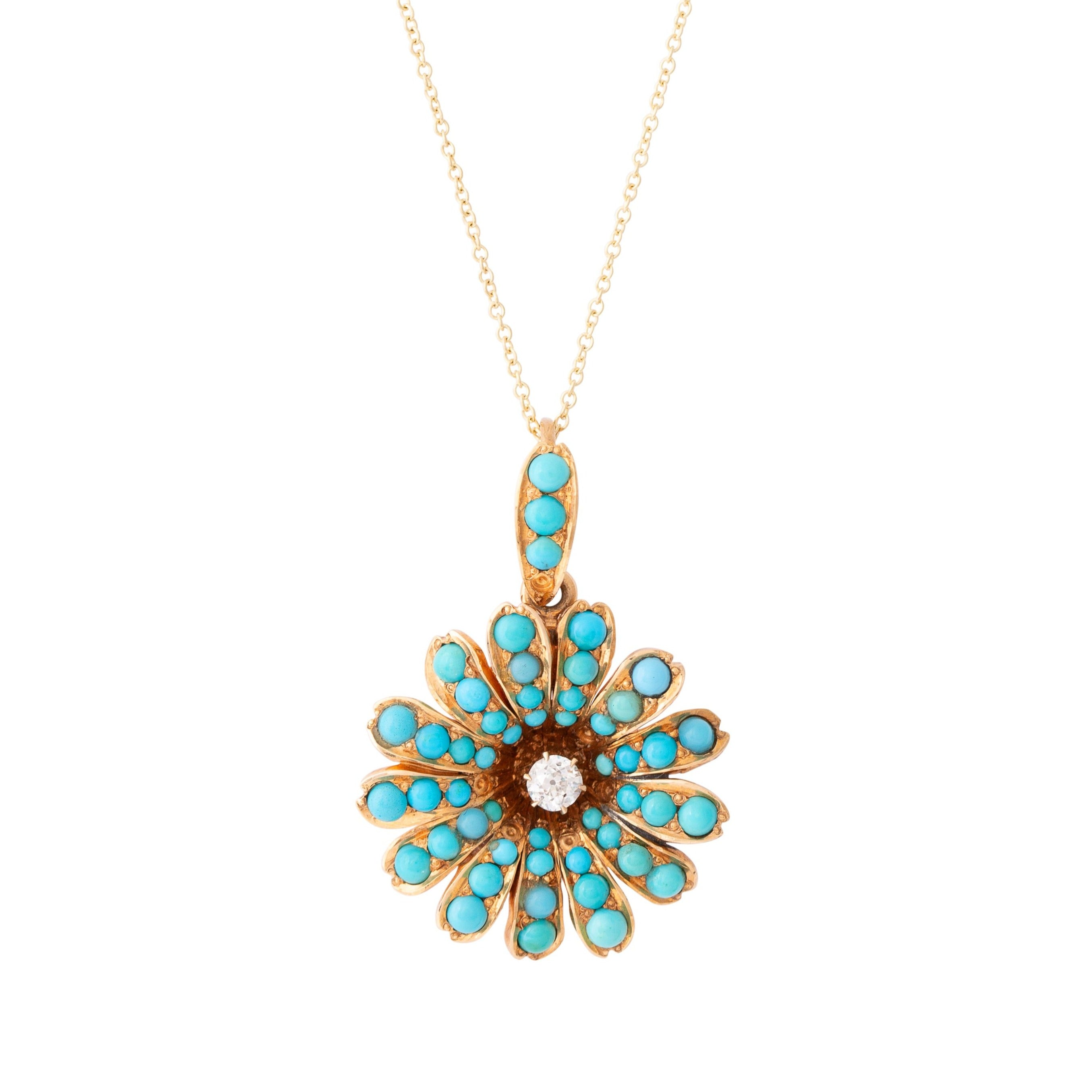 Victorian Turquoise and Diamond Flower Pendant Necklace