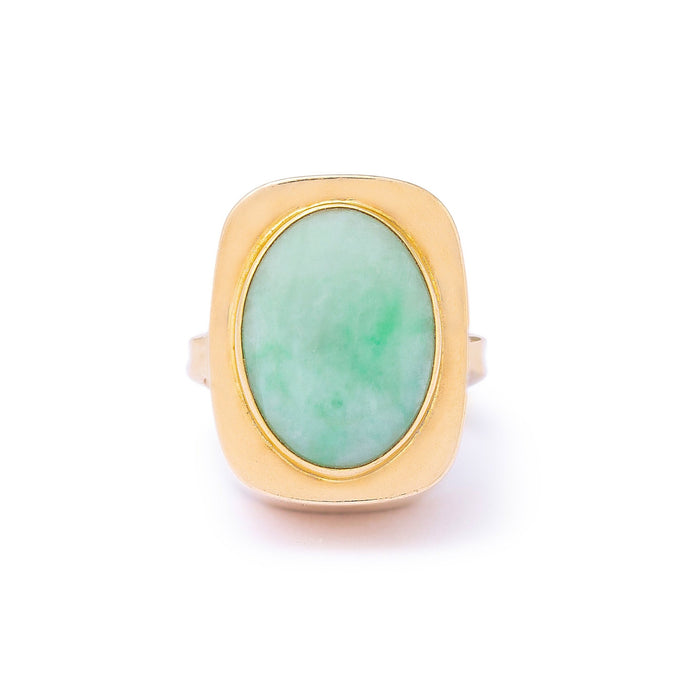 Danish Bent Knudsen Chalcedony 14k Gold Modernist Ring