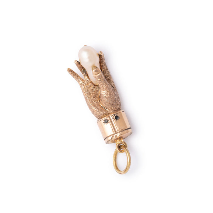 Victorian Pearl And 10K Gold Hand Charm