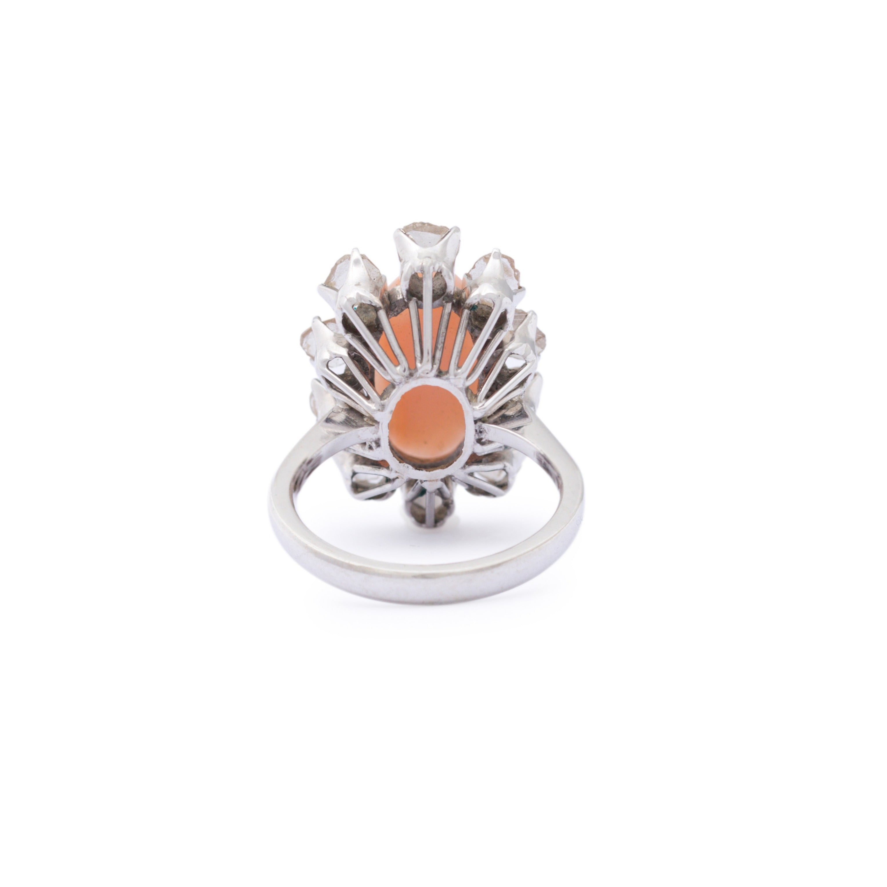 Angel Skin Coral and Rose Cut Diamond 14k Gold Cluster Ring