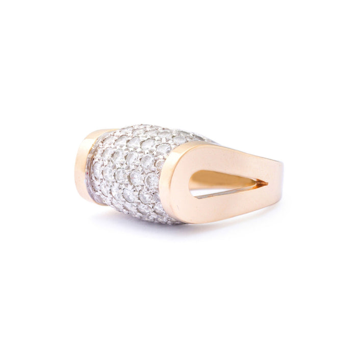 Modernist Diamond Pave 14k Gold Ring