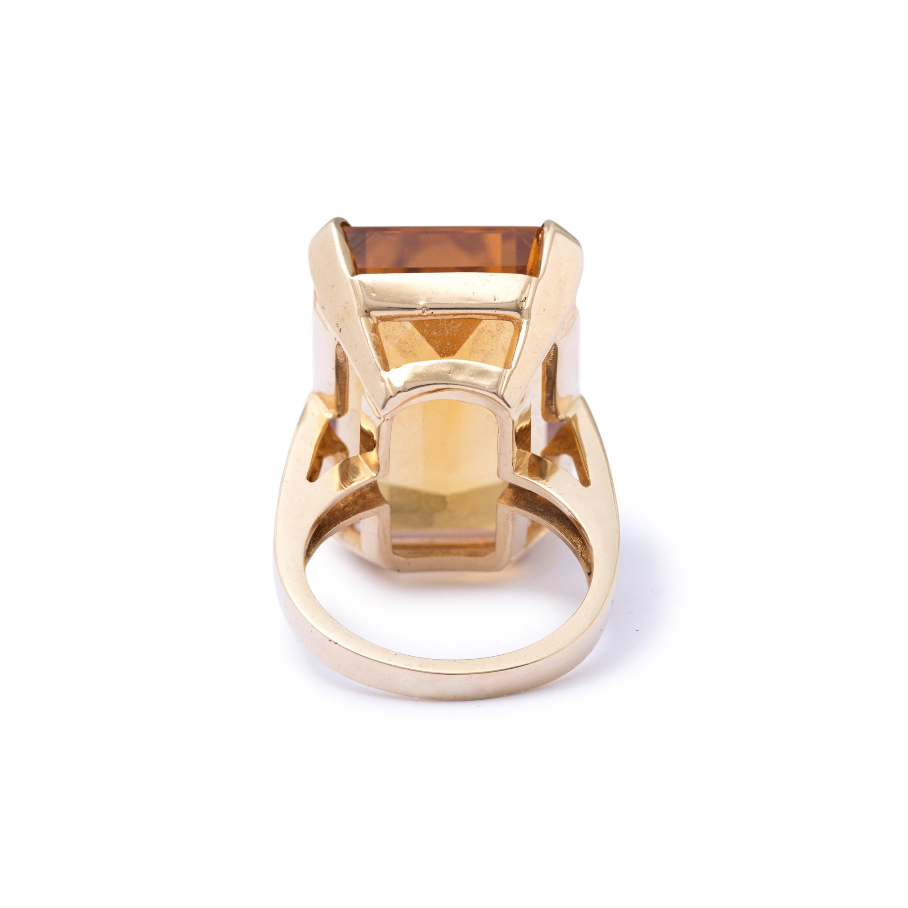 Large Citrine and 14k Gold Cocktail Ring
