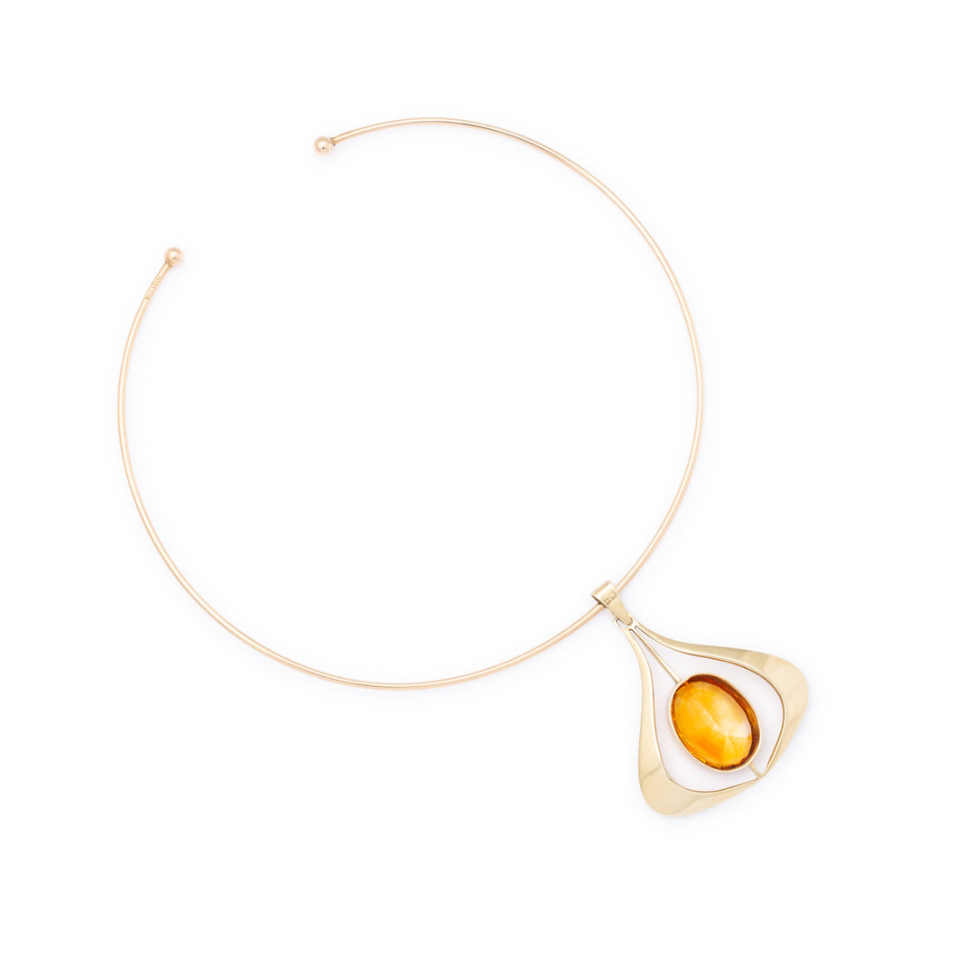 Modernist Citrine and 14K Gold Collar Necklace