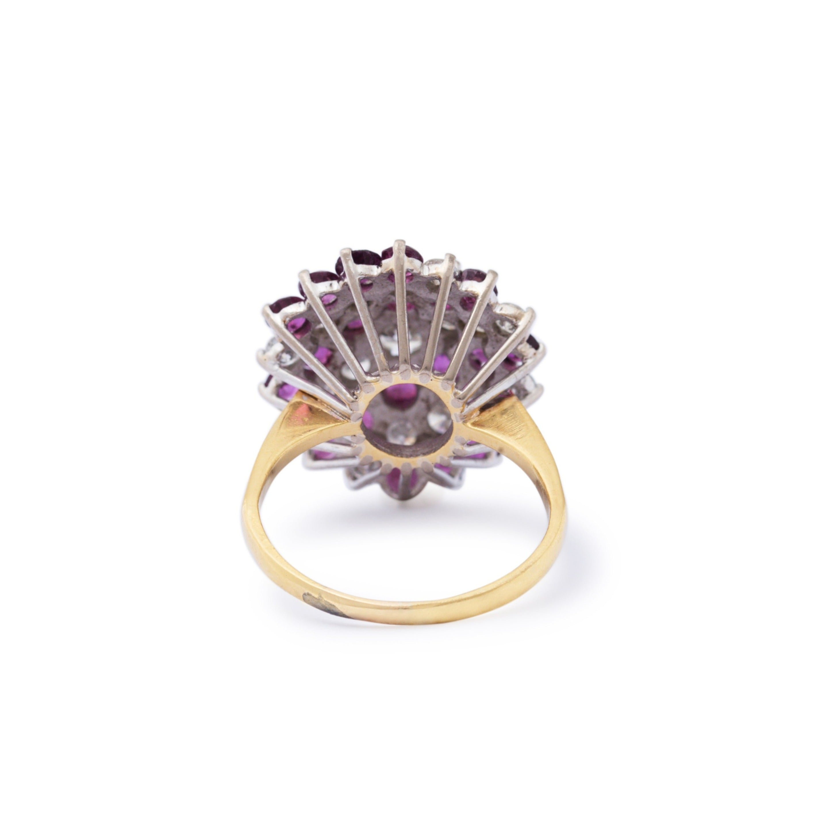 Ruby and Diamond 18k Gold Cluster Cocktail Ring