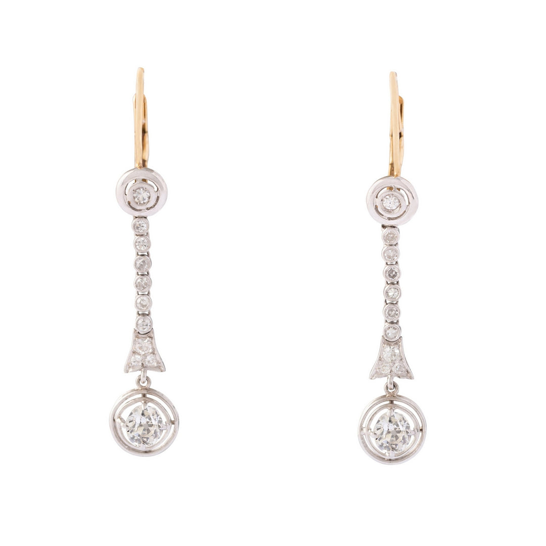 Edwardian Old Mine Cut Diamond, 18k Gold, and Platinum Earrings
