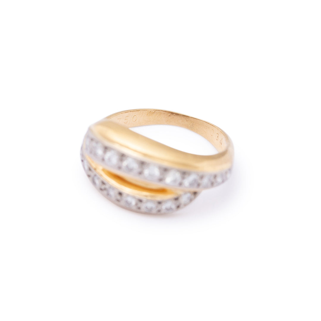 Cartier Diamond and 18k Gold Crossover Ring
