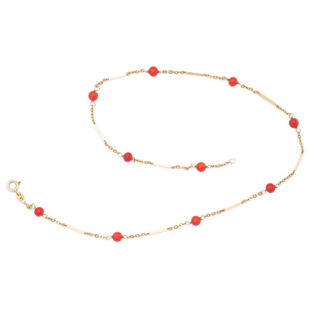 "Italian 14k Gold And Coral Bead 16"" Necklace"