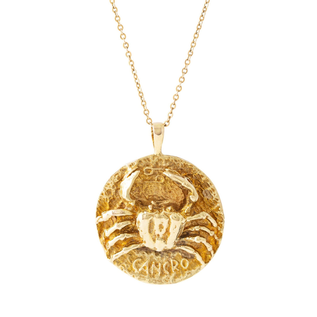 Cancer 14K Gold Pendant Zodiac Necklace