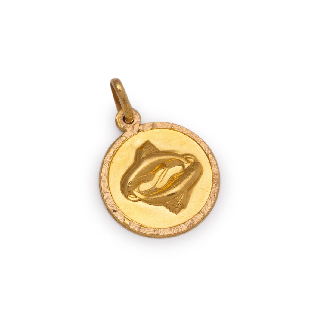 Pisces 14k Gold Disc Charm