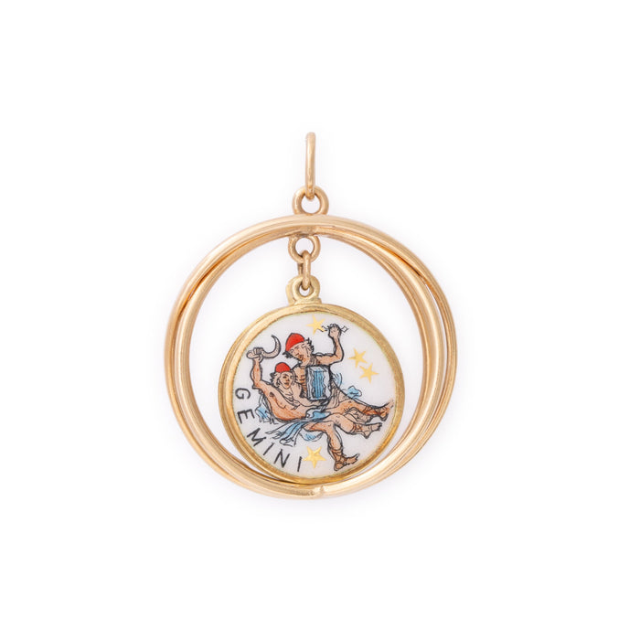 Double-Sided Enamel And 14k Gold Gemini Charm