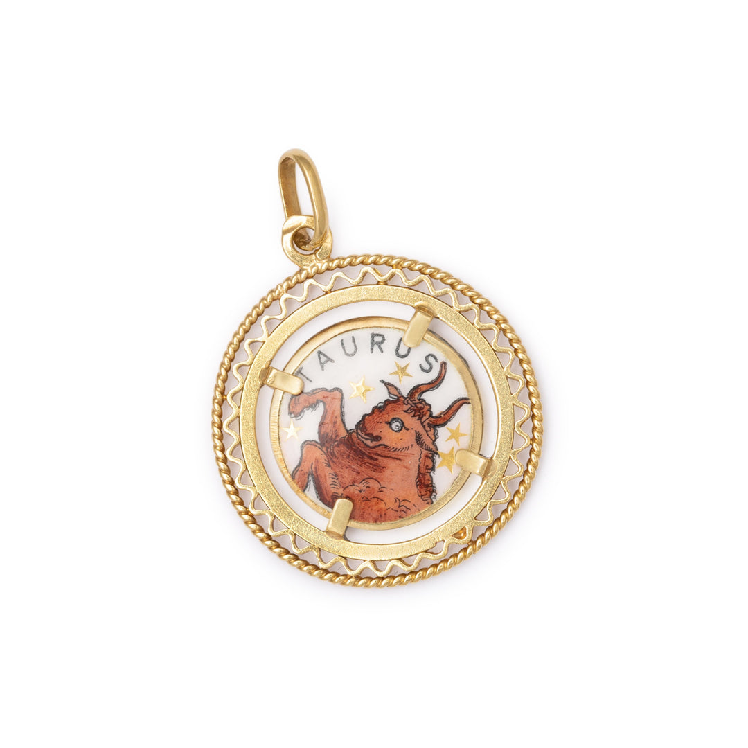 Double-sided Enamel and 14K Gold Taurus Charm
