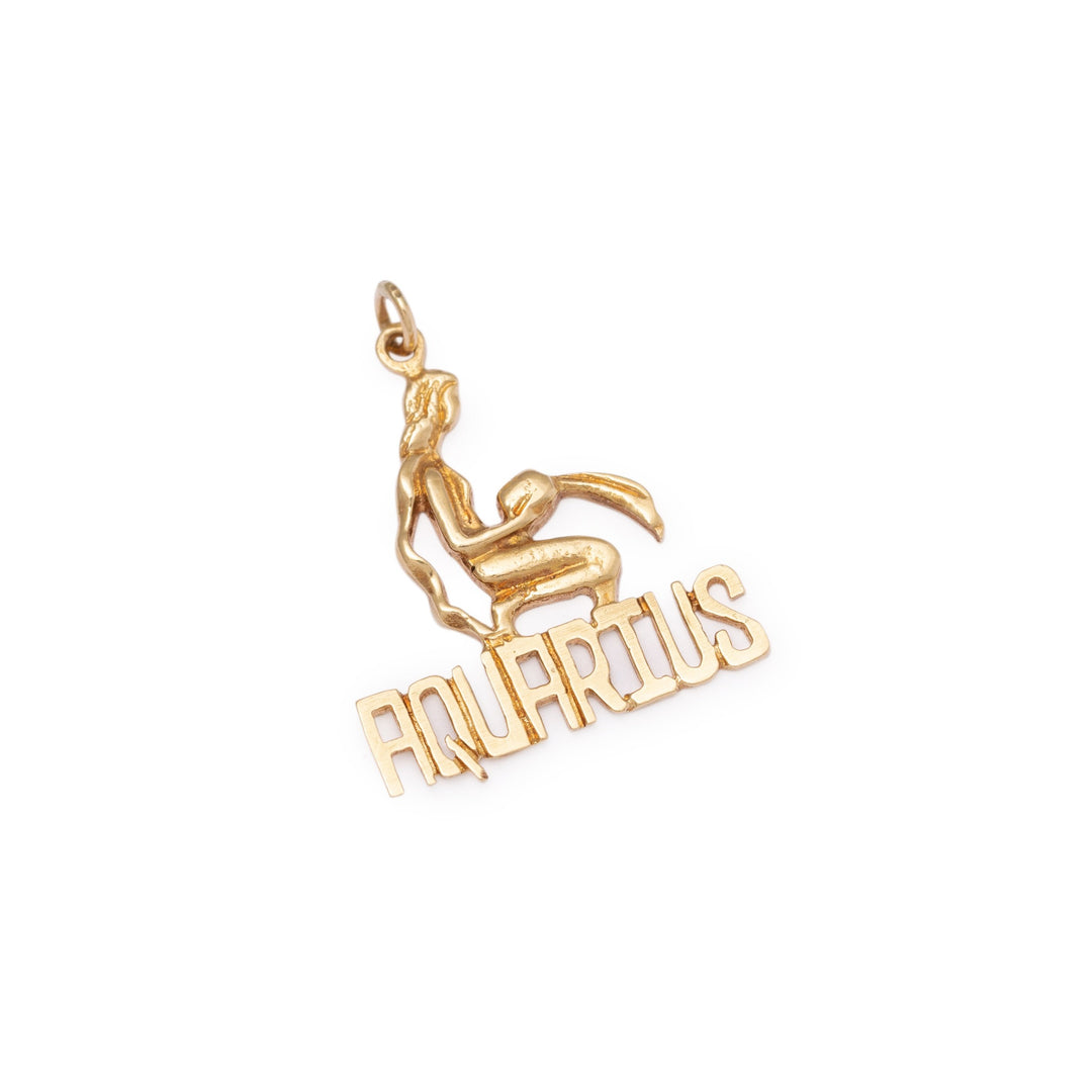 Aquarius Figure 14k Gold Zodiac Charm