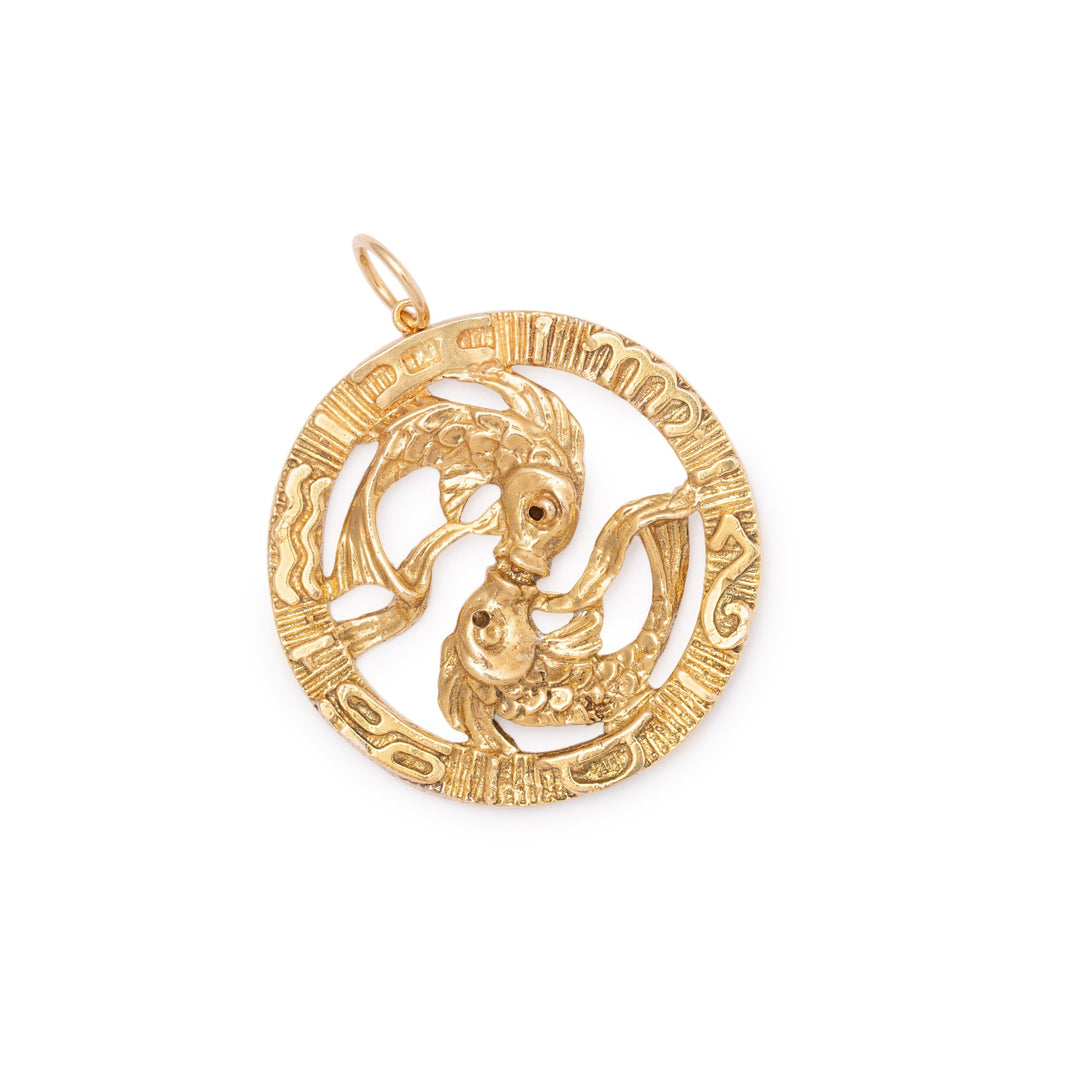 Pisces Diamond and 14K Gold Large Charm