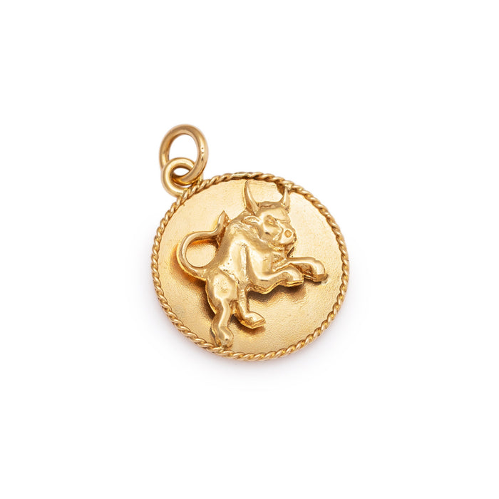 Taurus 14k Gold Domed Zodiac Charm