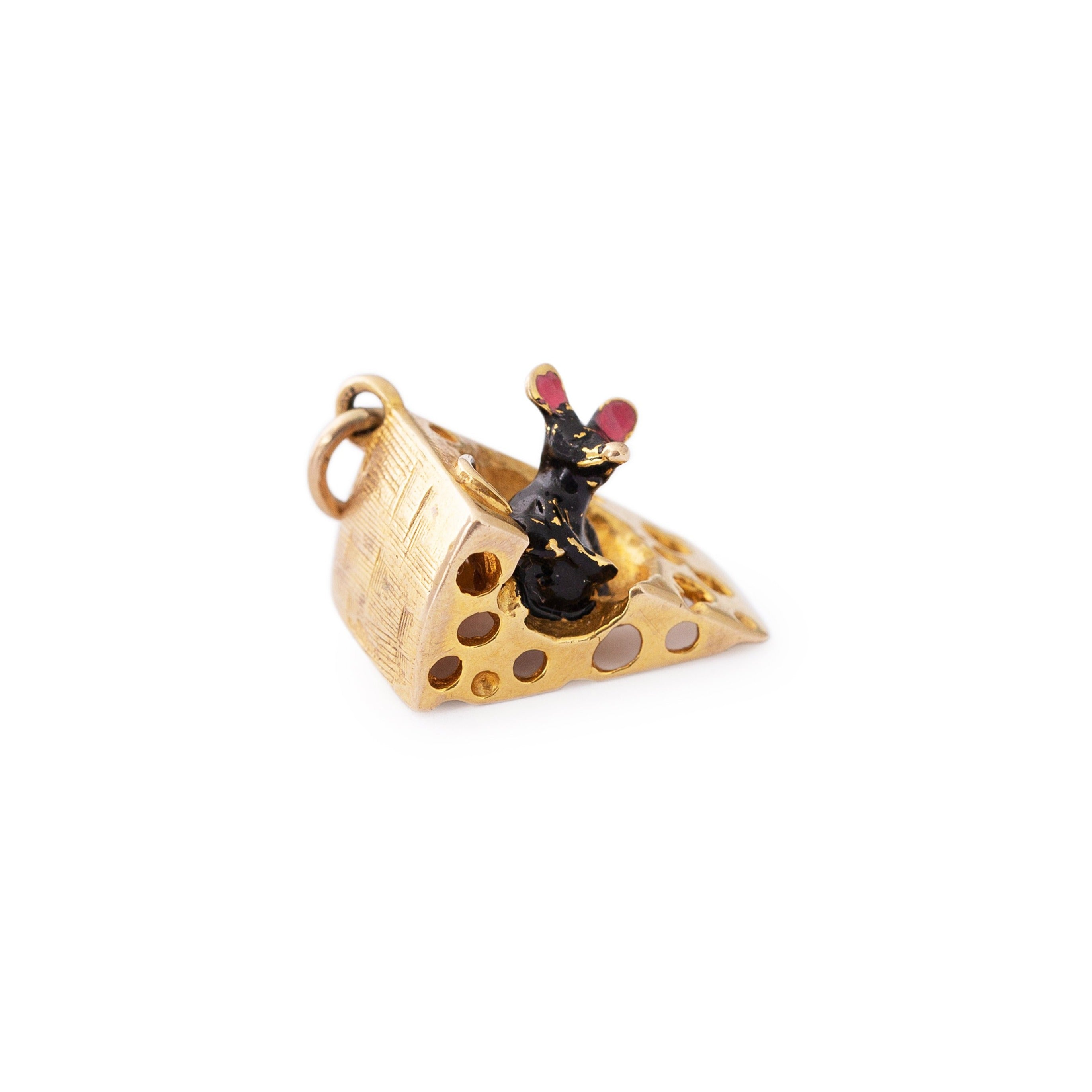 English Mouse and Cheese 9k Gold and Enamel Charm