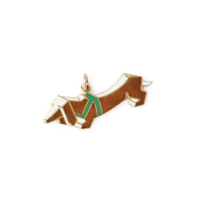 Modernist Dachshund 14k Gold And Enamel Dog Charm