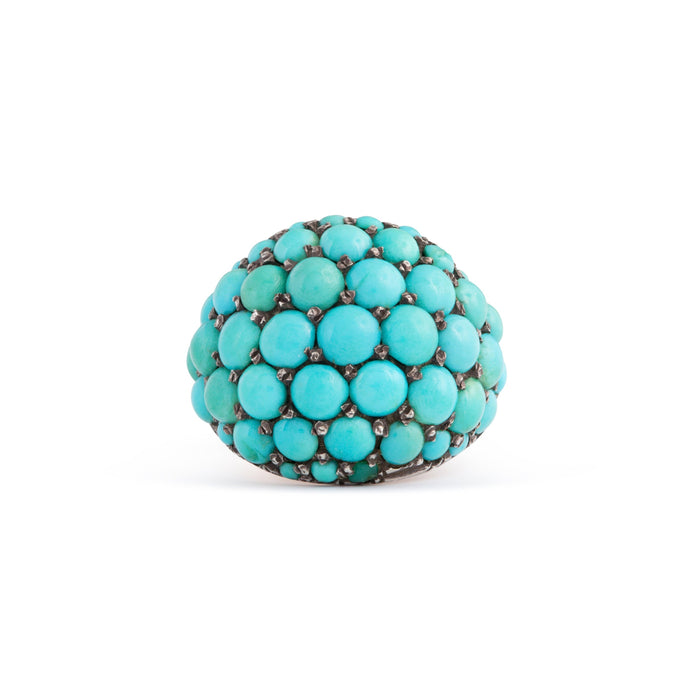 Victorian Turquoise Pavé, 9k Gold, and Silver Dome Ring