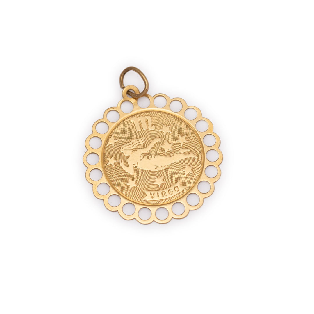 Virgo 14k Gold Scalloped Zodiac Charm