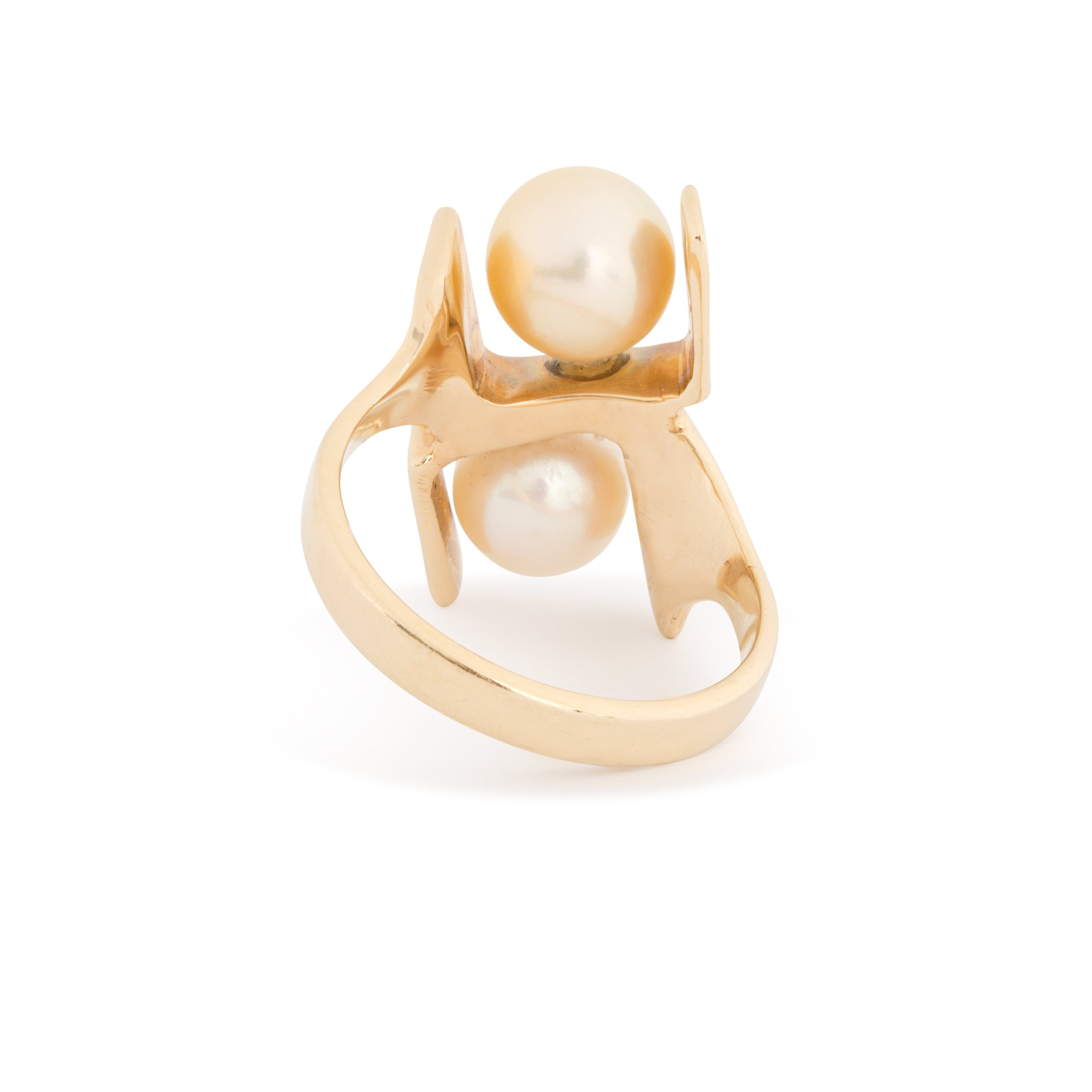 Sculptural Double Pearl and 14k Gold Ring