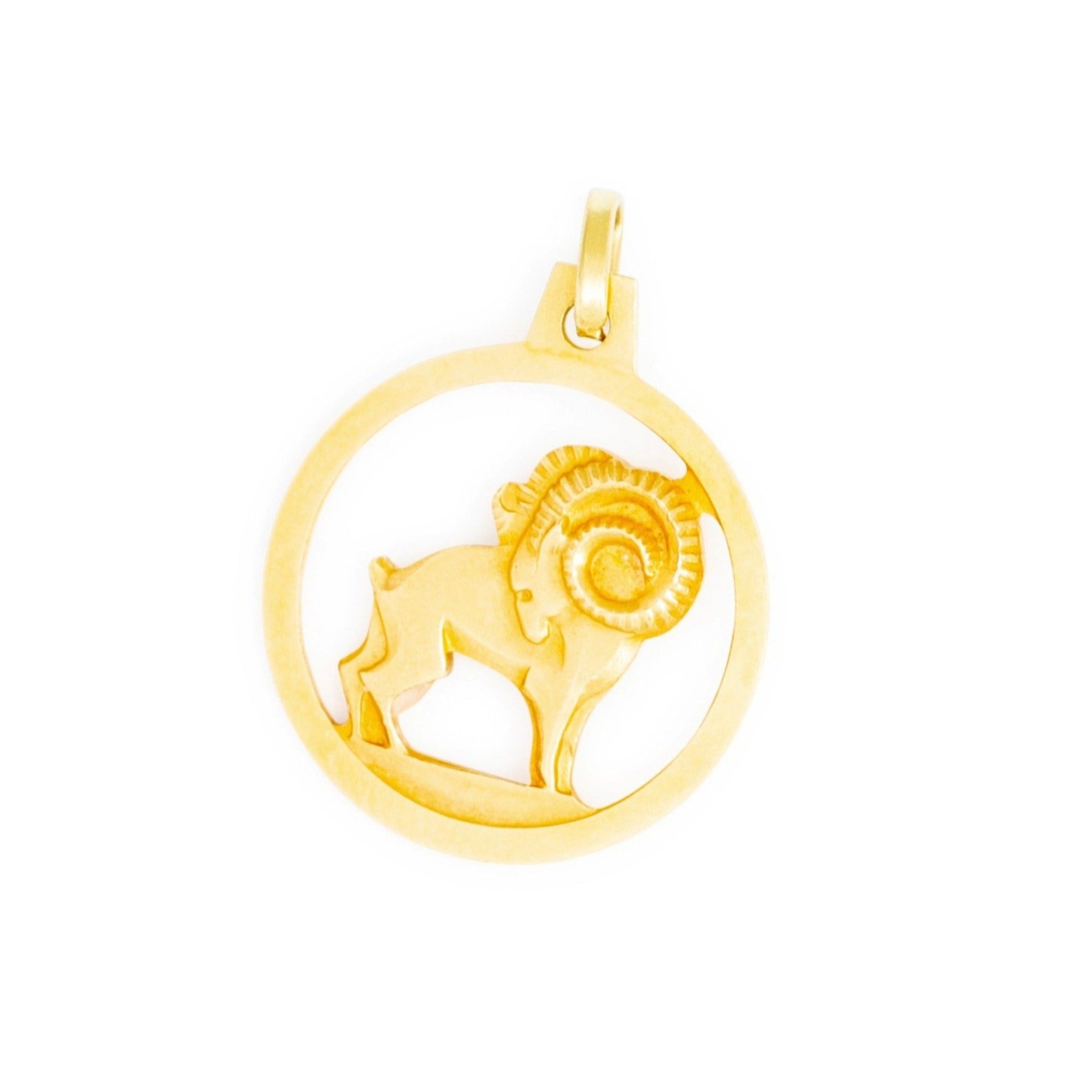 Aries Ram 14k Yellow Zodiac Charm