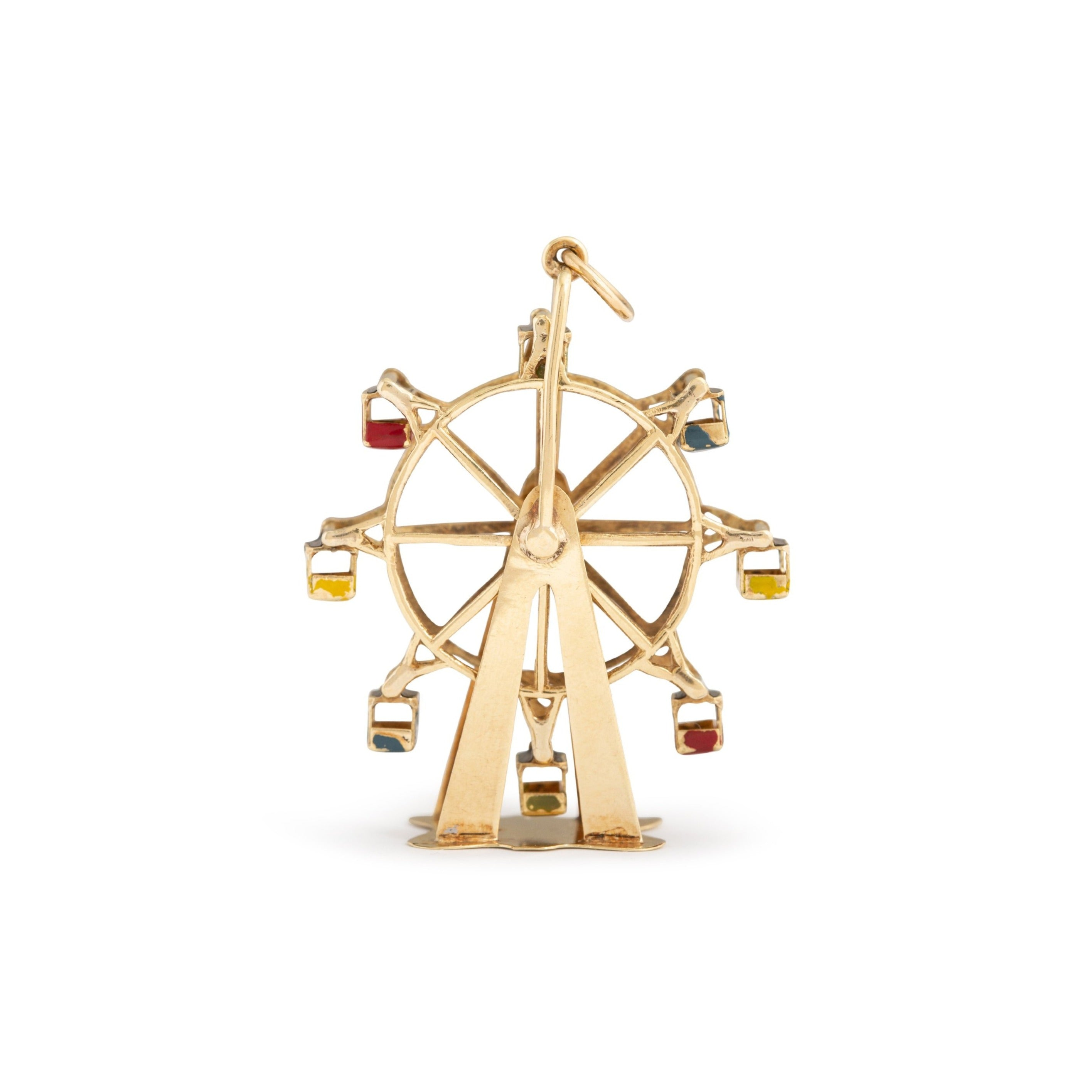 Austrian Large Ferris Wheel 14k Gold and Enamel Charm