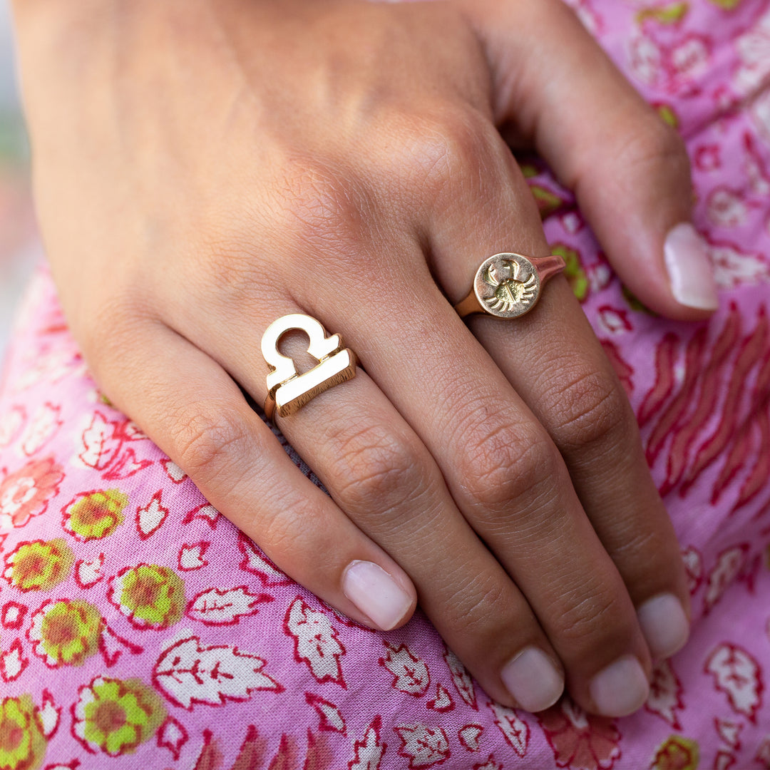 Cancer Zodiac Sign 14k Gold Ring