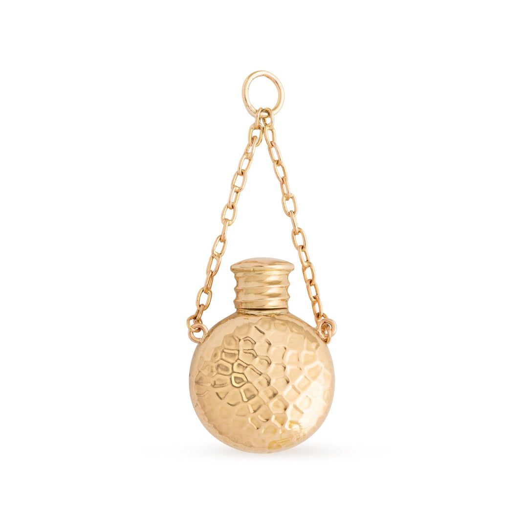Hammered 14k Rose Gold Perfume Bottle Charm