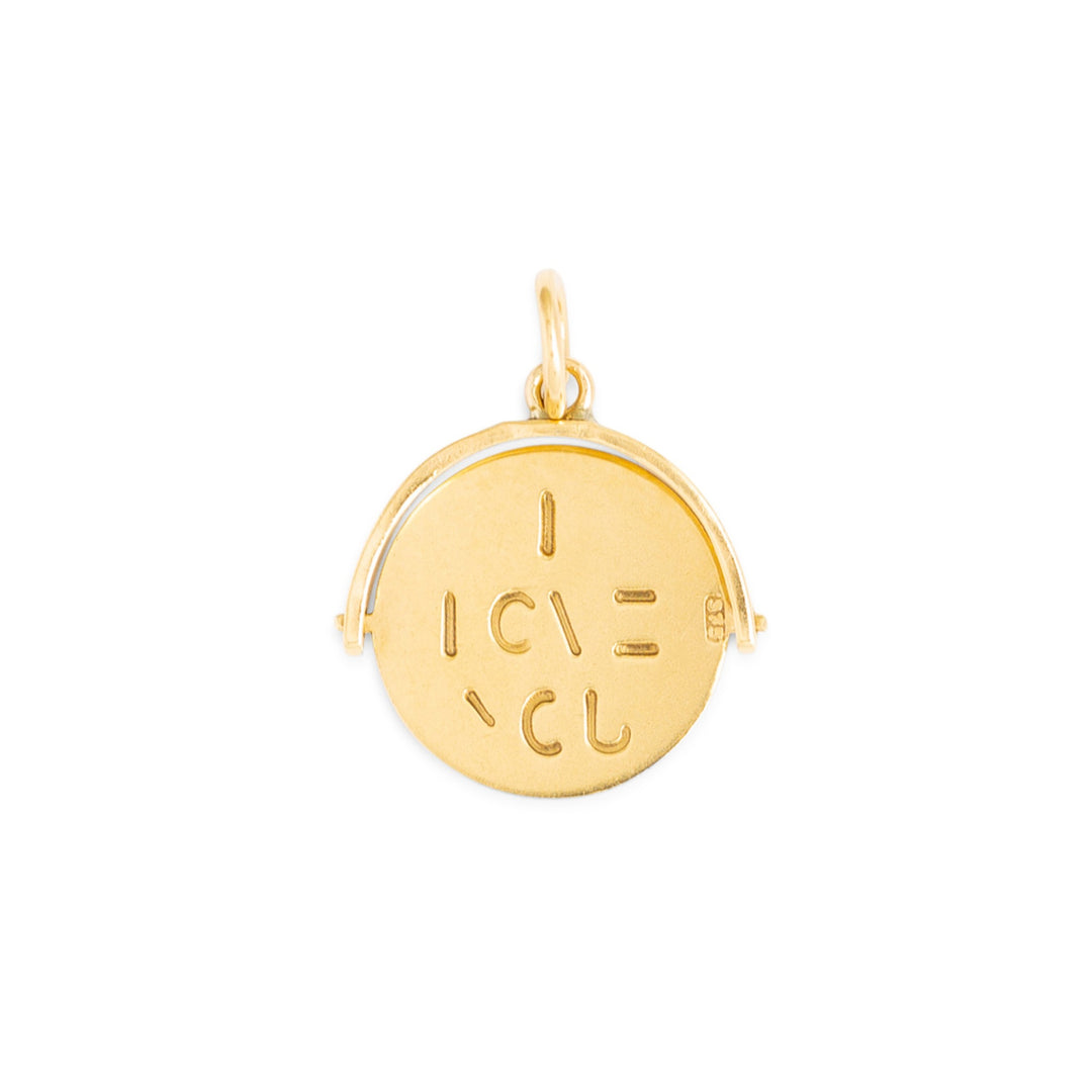 "English ""I LOVE YOU"" 9k Gold Spinner Charm"
