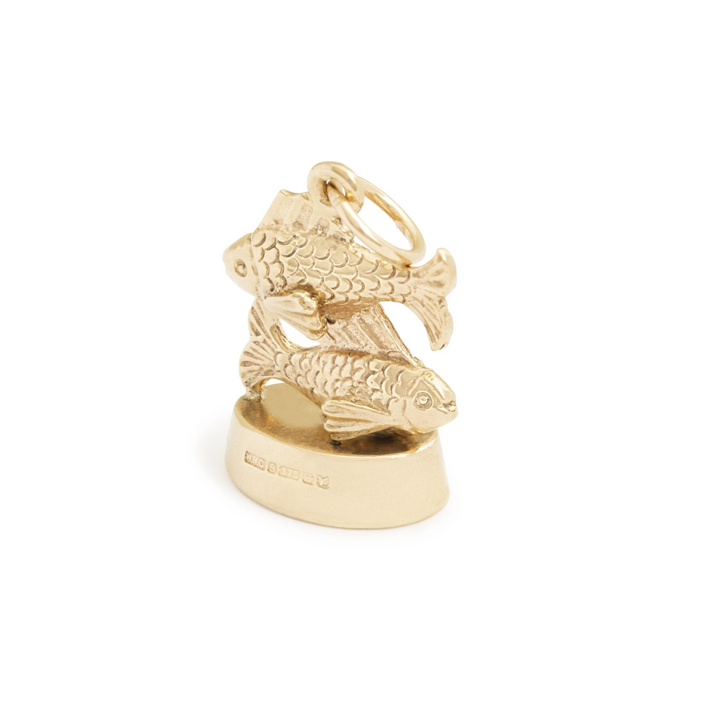 English Pisces 3-Dimensional 9k Gold Zodiac Charm