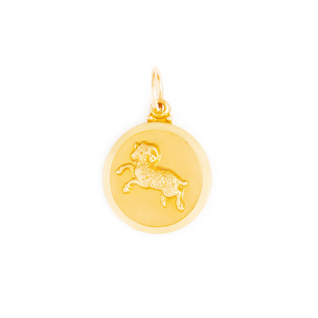 English Aries 9k Gold Disc Zodiac Charm