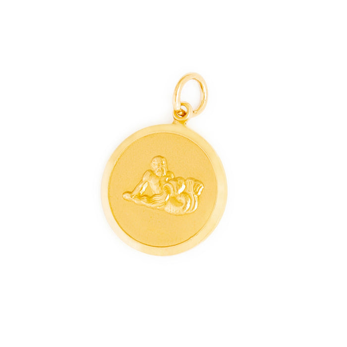 English Aquarius 9k Gold Disc Zodiac Charm