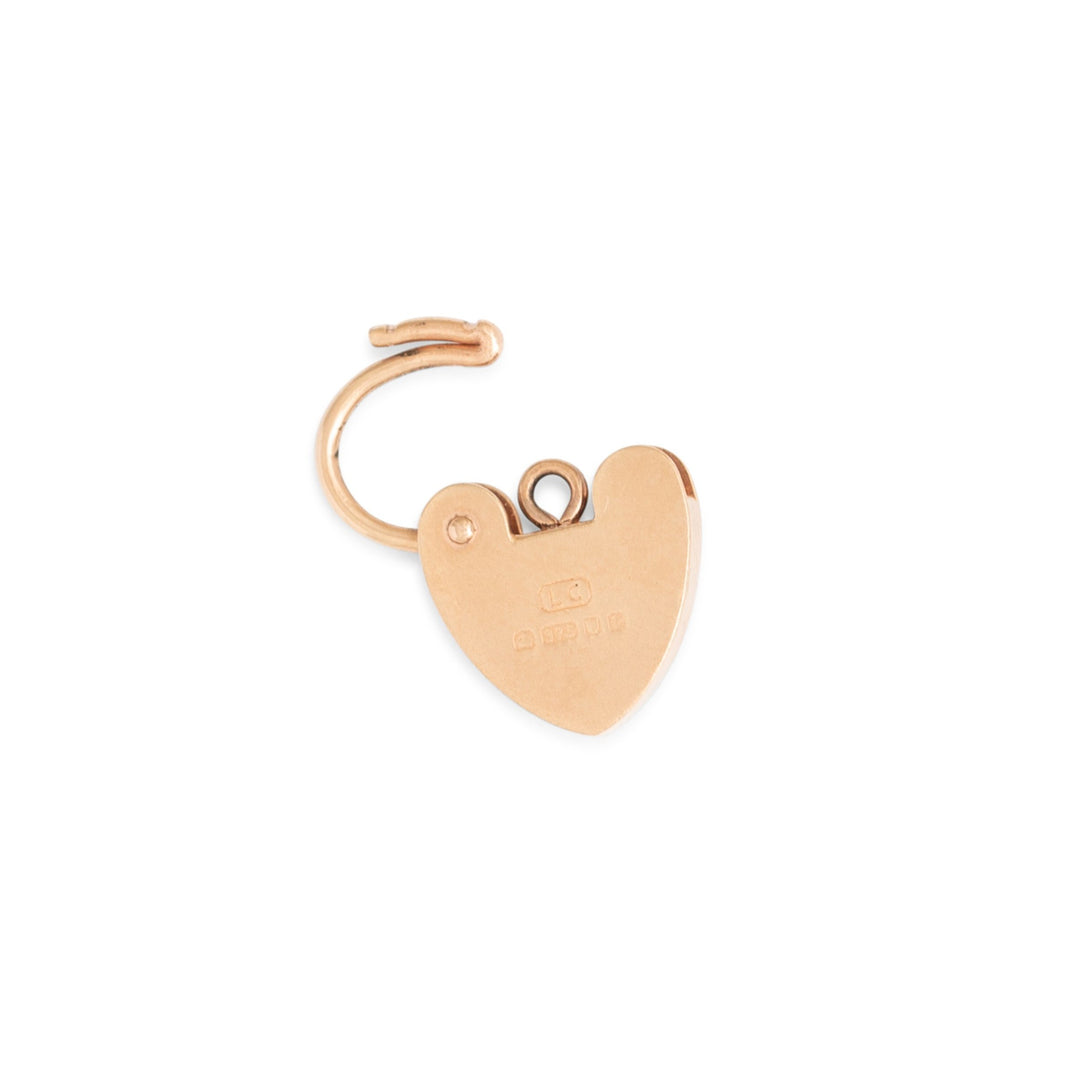 English Heart Padlock 9k Rose Gold Charm