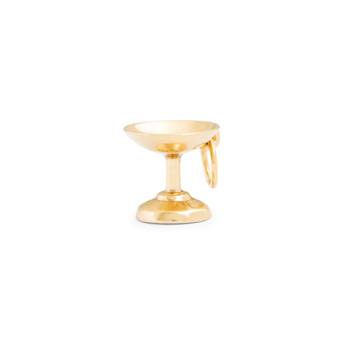 Champagne Coupe 14k Gold Charm