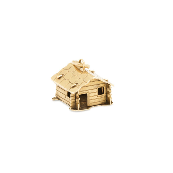 Rustic Cabin 14k Gold Charm