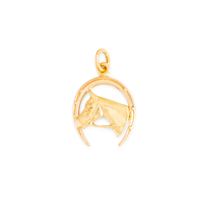 Bi-Color 14K Gold Horse and Horseshoe Charm