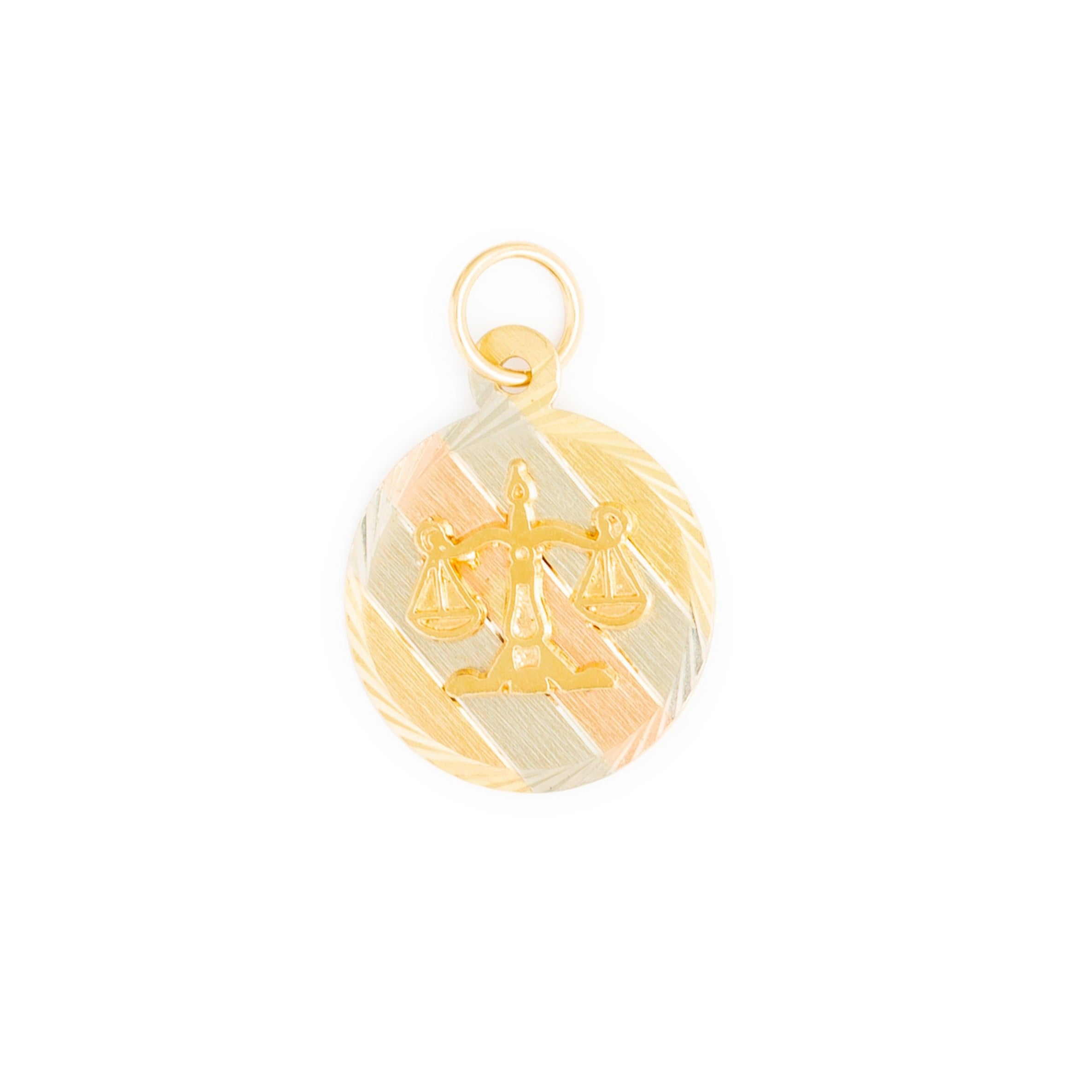 Libra Tri-Color 10k Gold Zodiac Charm