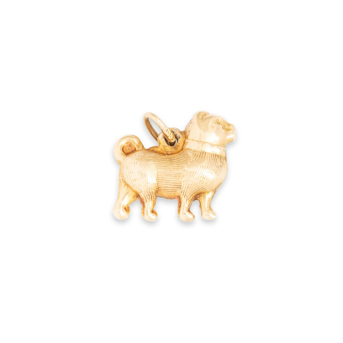 Short Nosed 14K Gold Dog Charm