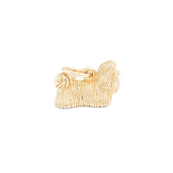 Long Hair 14K Gold Dog Charm