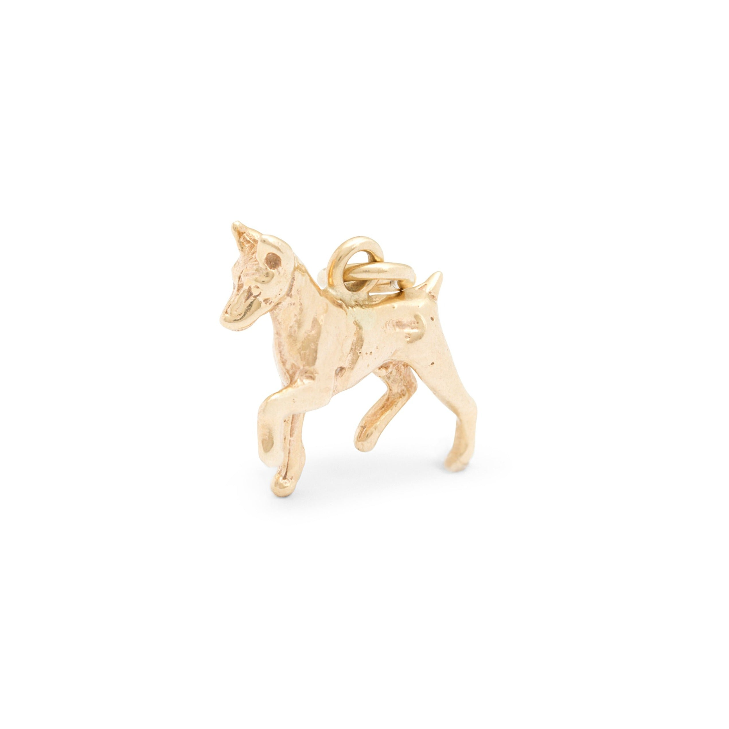 Trotting Doberman Pinscher 14K Gold Dog Charm