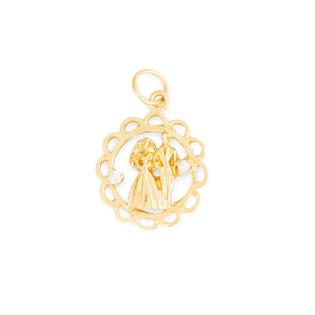 Bride and Groom Diamond and 10k Gold Charm
