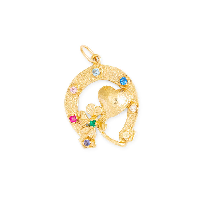 Rainbow Good Luck Horseshoe 10k Gold Charm
